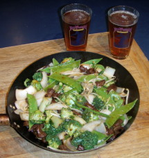 Stir Fried duck w/ broccoli and snow peas